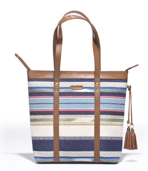 Shoppers Bag - Blue white