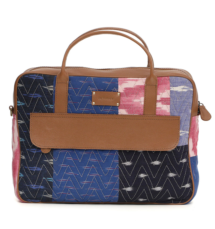 Patchwork Ikat Leather briefcase