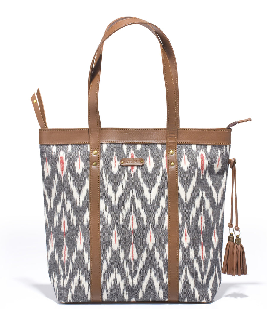 Shoppers Bag- Grey Ikat