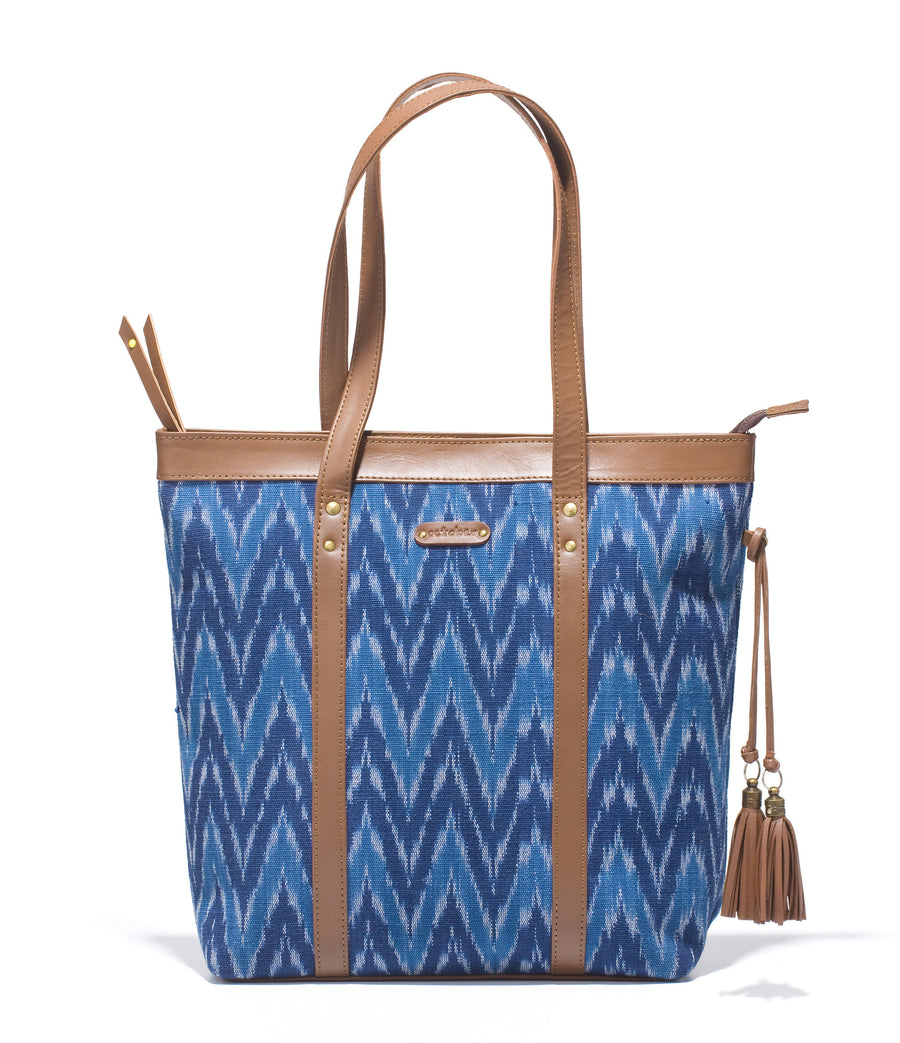 Shoppers Bag - Blue Ikat Durrie