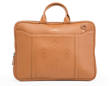 Tan Leather laptop bag-Ikat imprints