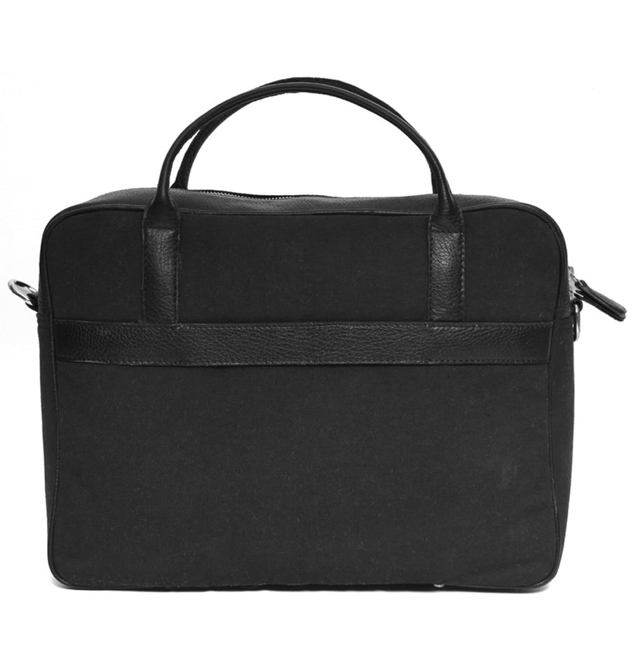 Black Canvas Leather Briefcase