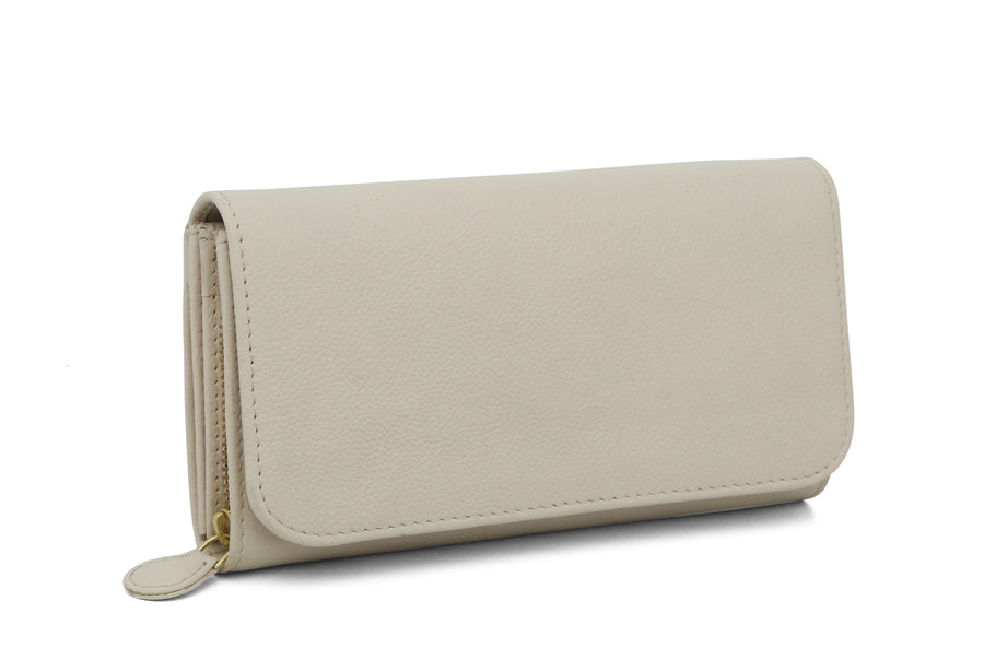 Bi Fold Leather Wallet - Pearl