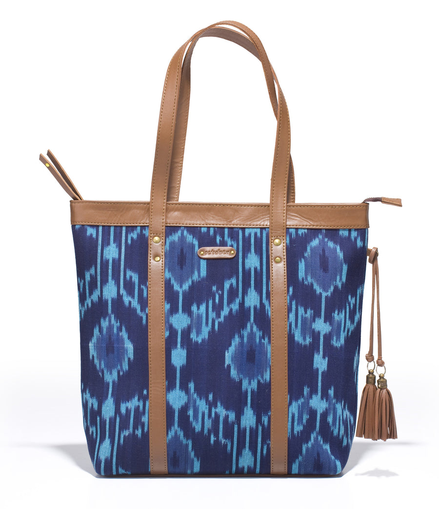 Shoppers Bag- Blue Ikat