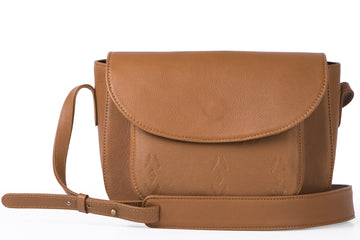 Tan Leather Satchel- Ikat Imprints