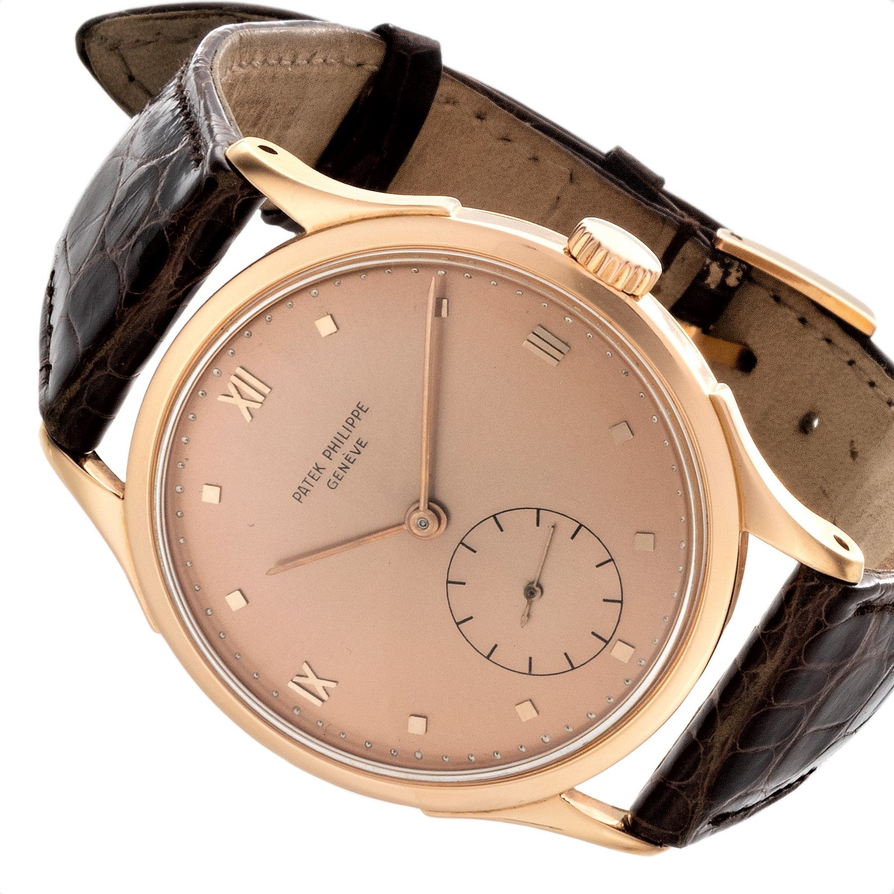 Patek Philippe 1589R Rose Gold 36 mm Calatrava Watch.  Circa 1954