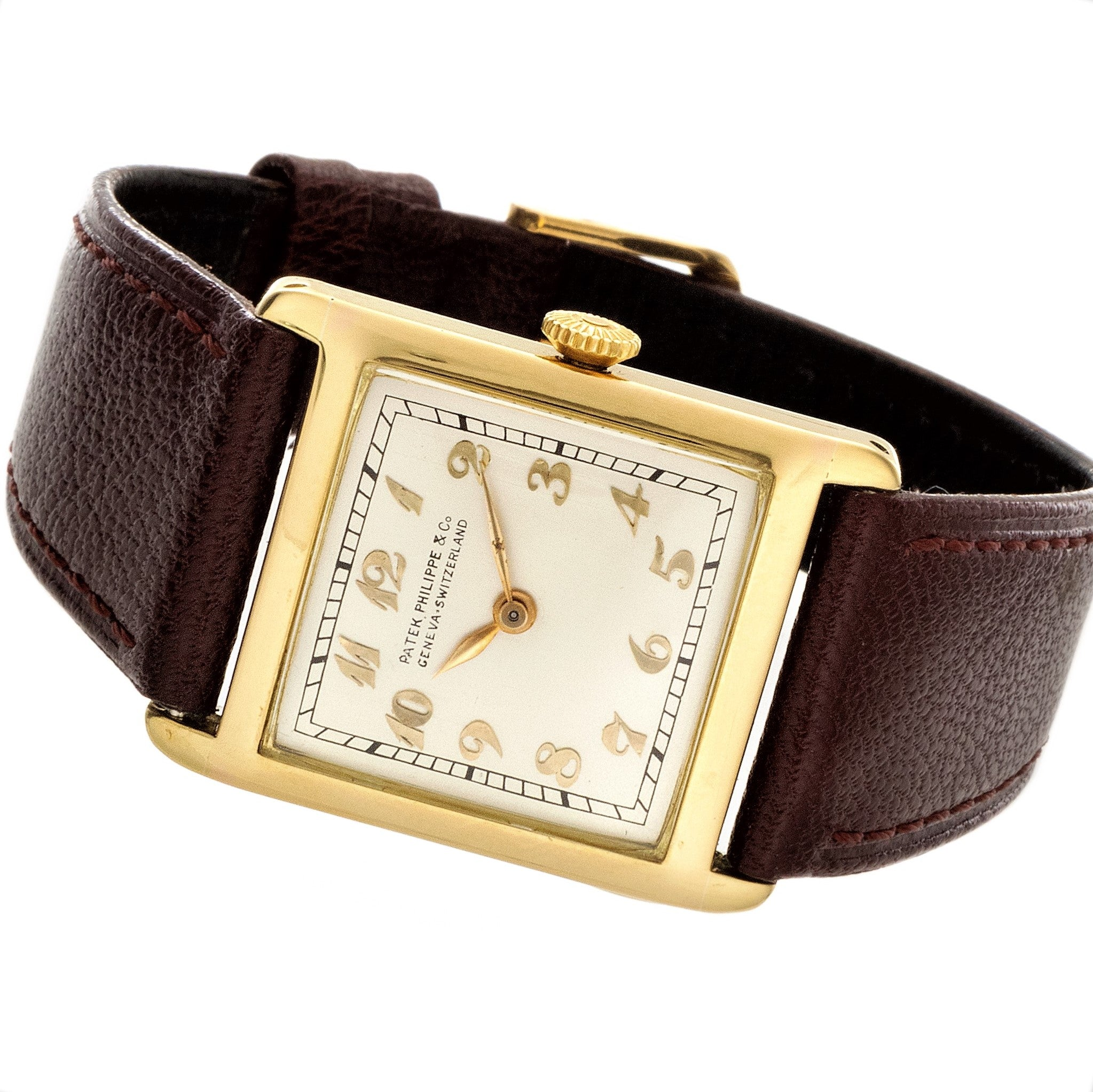 Patek Philippe Early Yellow Gold Art Deco Square Tank Watch Circa 1912