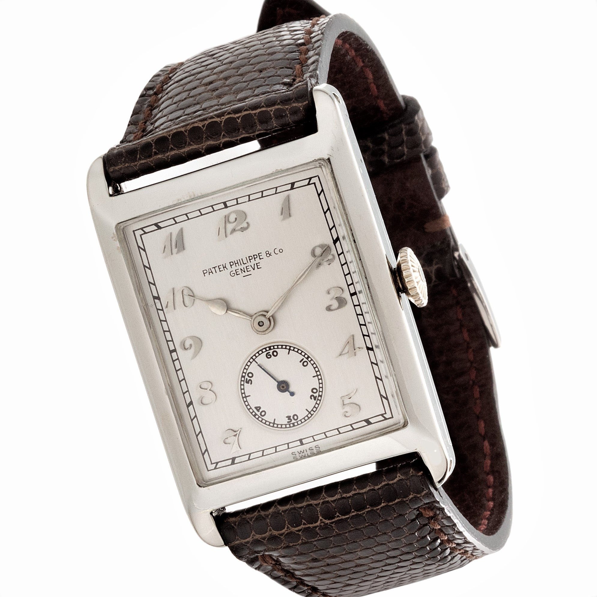 Patek Philippe Early large Hinged White Gold Art Deco Watch.  Circa 1926