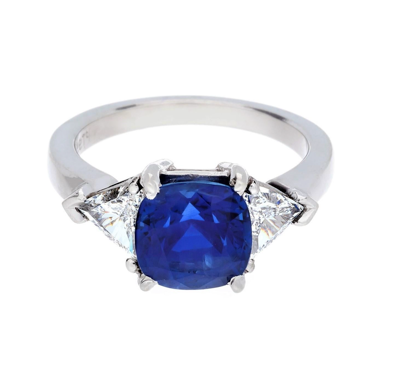 3.09 Carat Burma Sapphire and Diamond 3-Stone Ring with Gubelin Certificate and No Heat Treatment