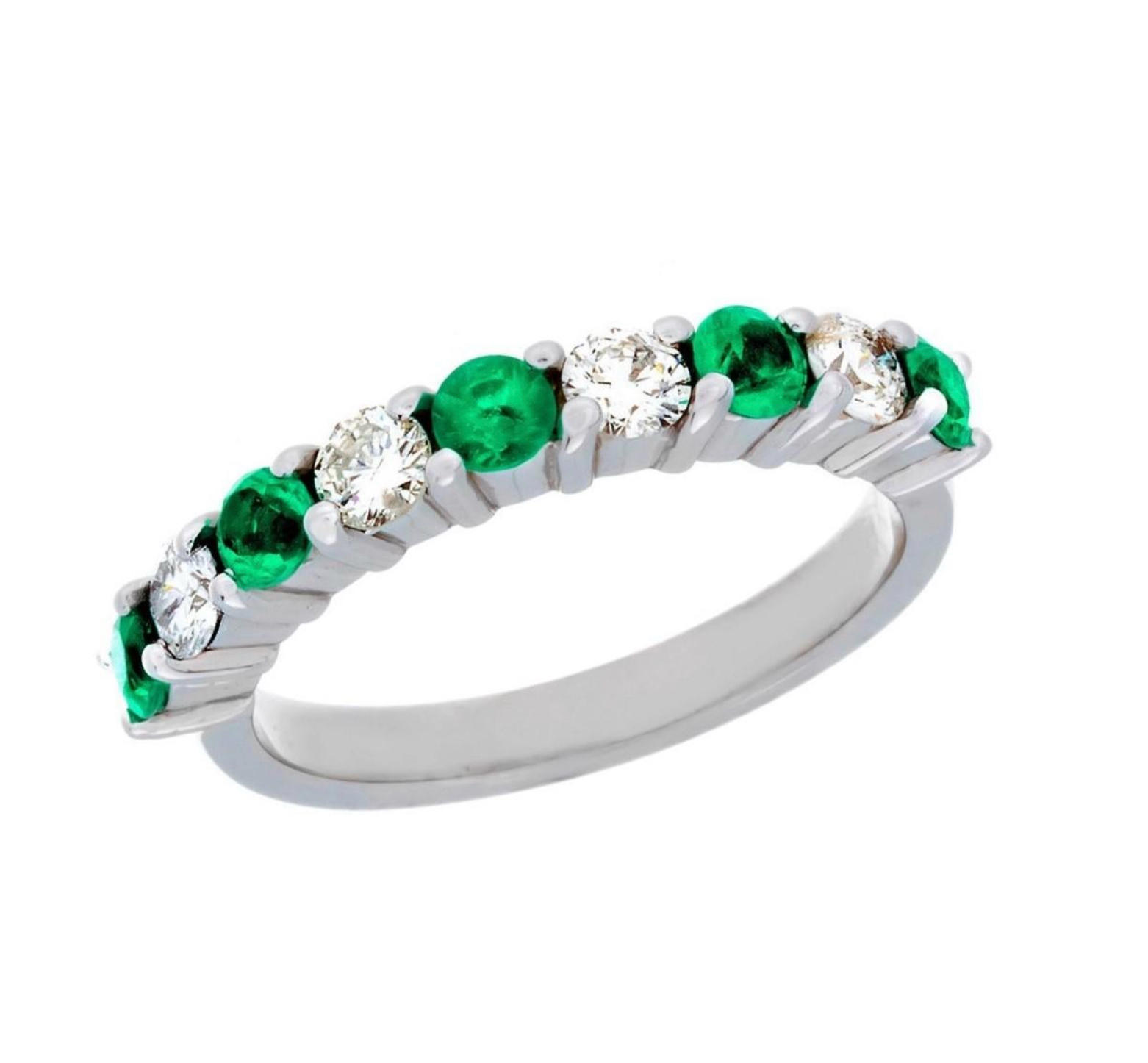 14 Karat White Gold Emerald and Diamond Part Way Band Ring