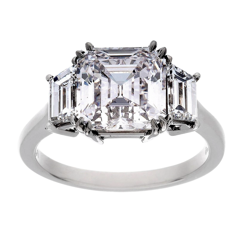 Platinum 3.01 Carat Asscher Cut Diamond 3-Stone Ring, GIA, F Color, VVS1 Clarity