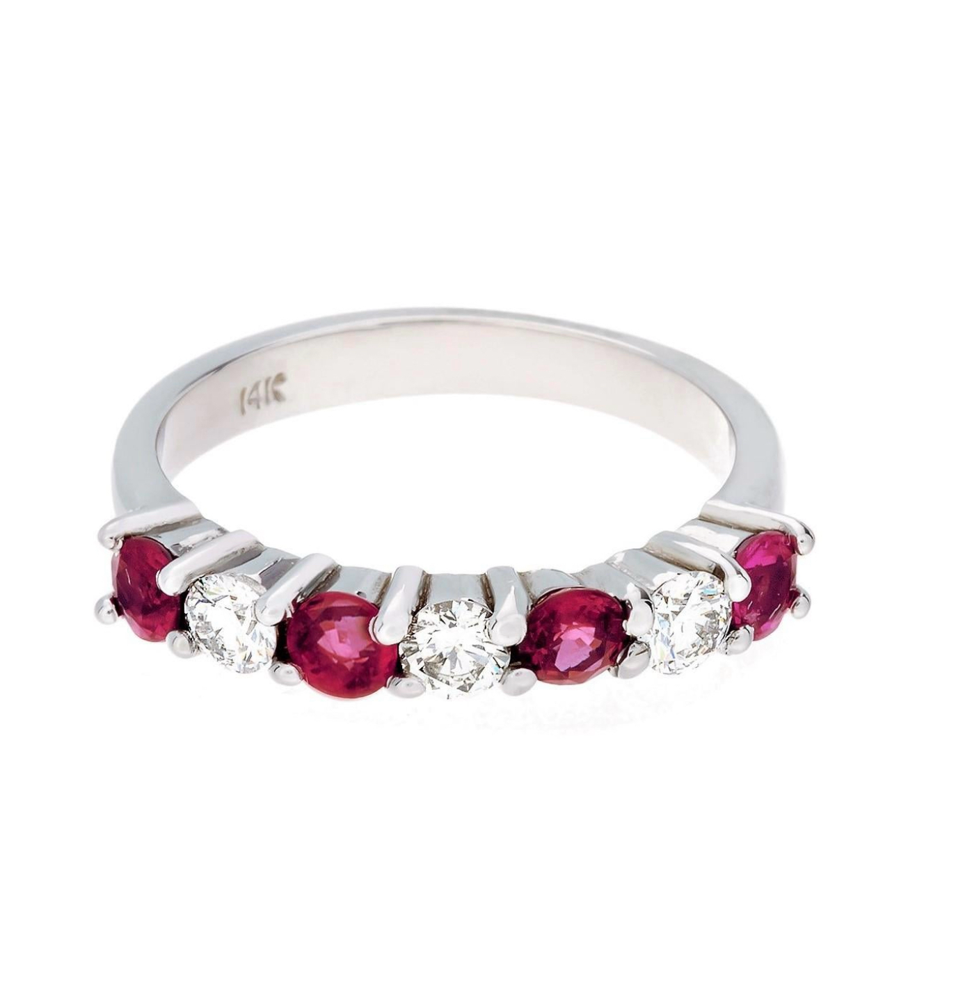 14 Karat White Gold 7-Stone Burma Ruby and Diamond Ring