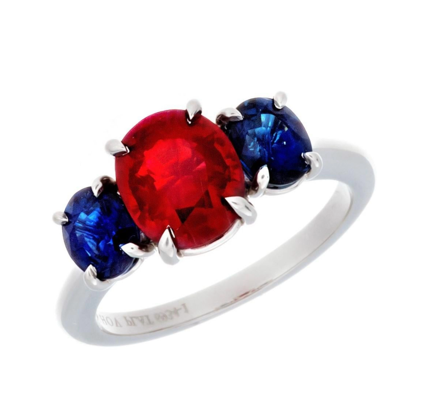 Platinum Burmese Ruby and Sapphire 3-Stone Ring