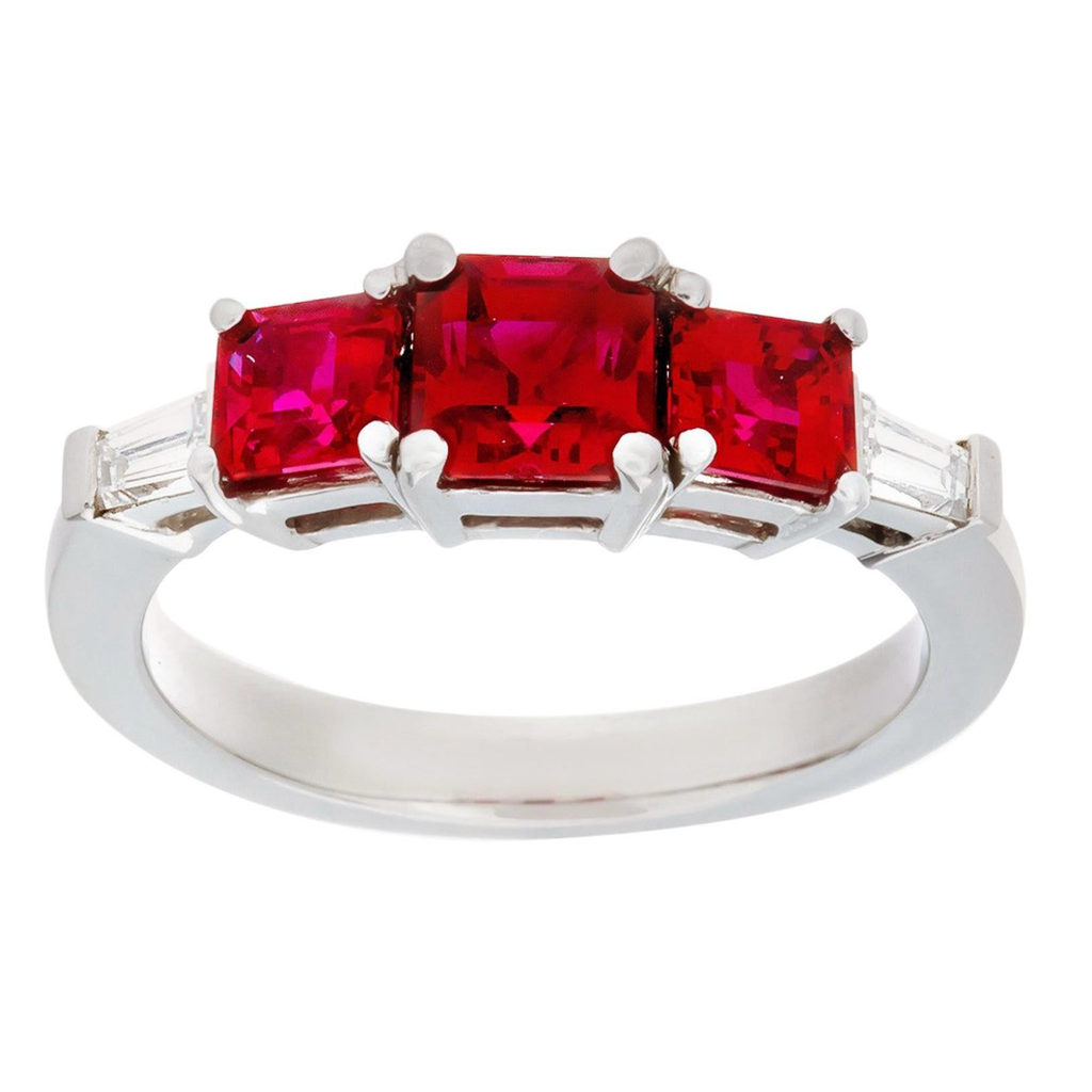 1.95 3-Stone Burma Ruby and Diamond Ring Made in Platinum