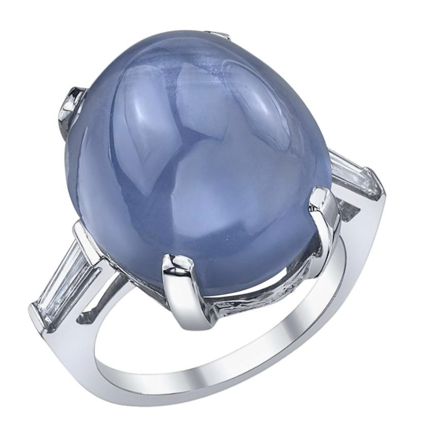28 Carat Vintage Blue Star Sapphire and Diamond 3-Stone Ring circa 1945-1955