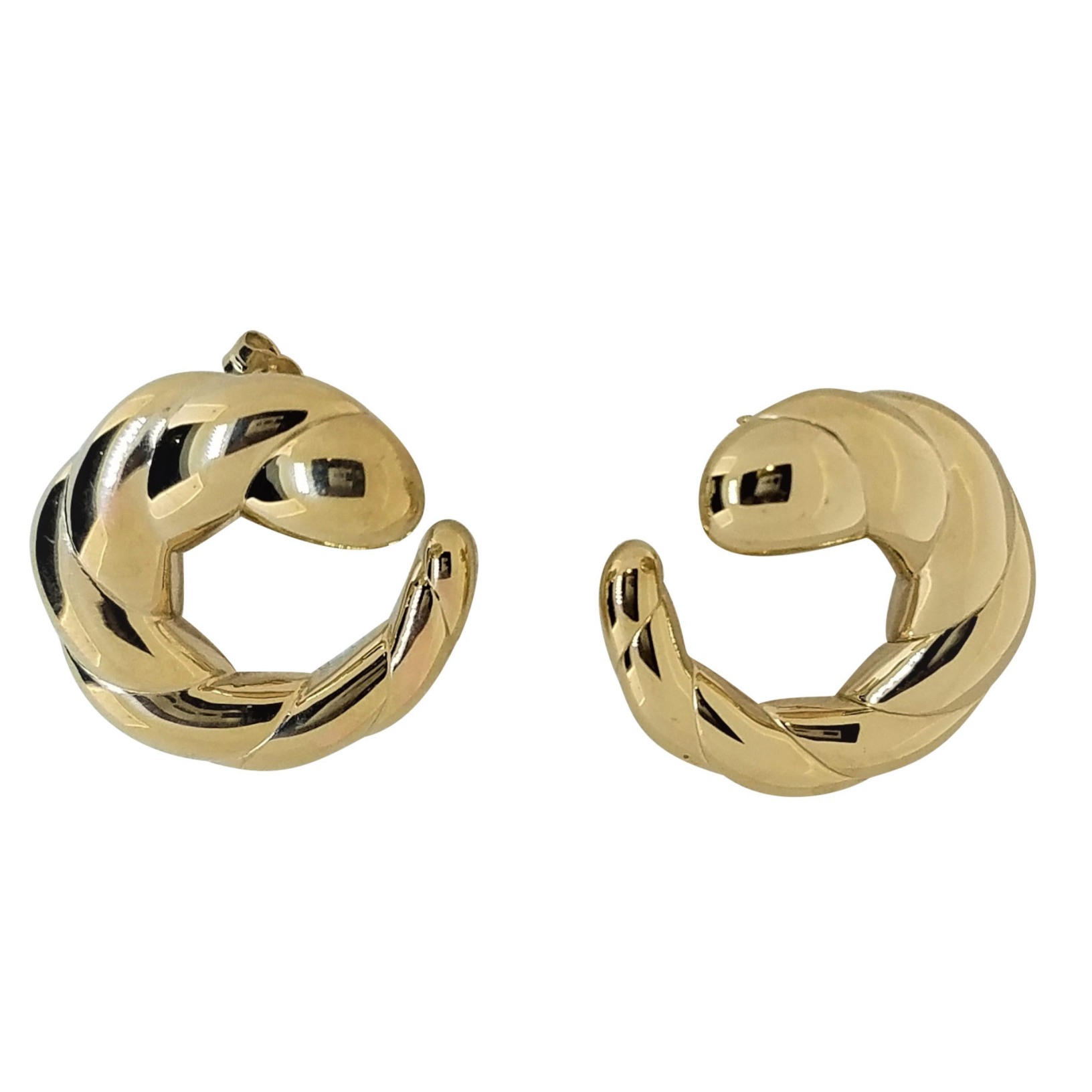 14 Karat Gold Circular Swirl Shaped Earrings with Brightly Polished Finish