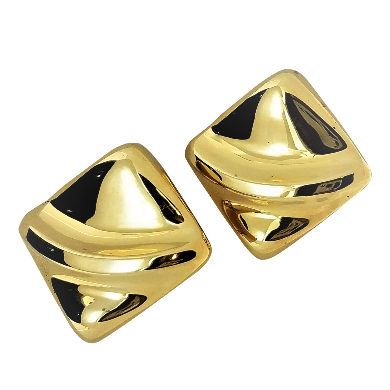 18 Karat Gold Square Triangular Diamond Shape Design Clip and Post Earrings