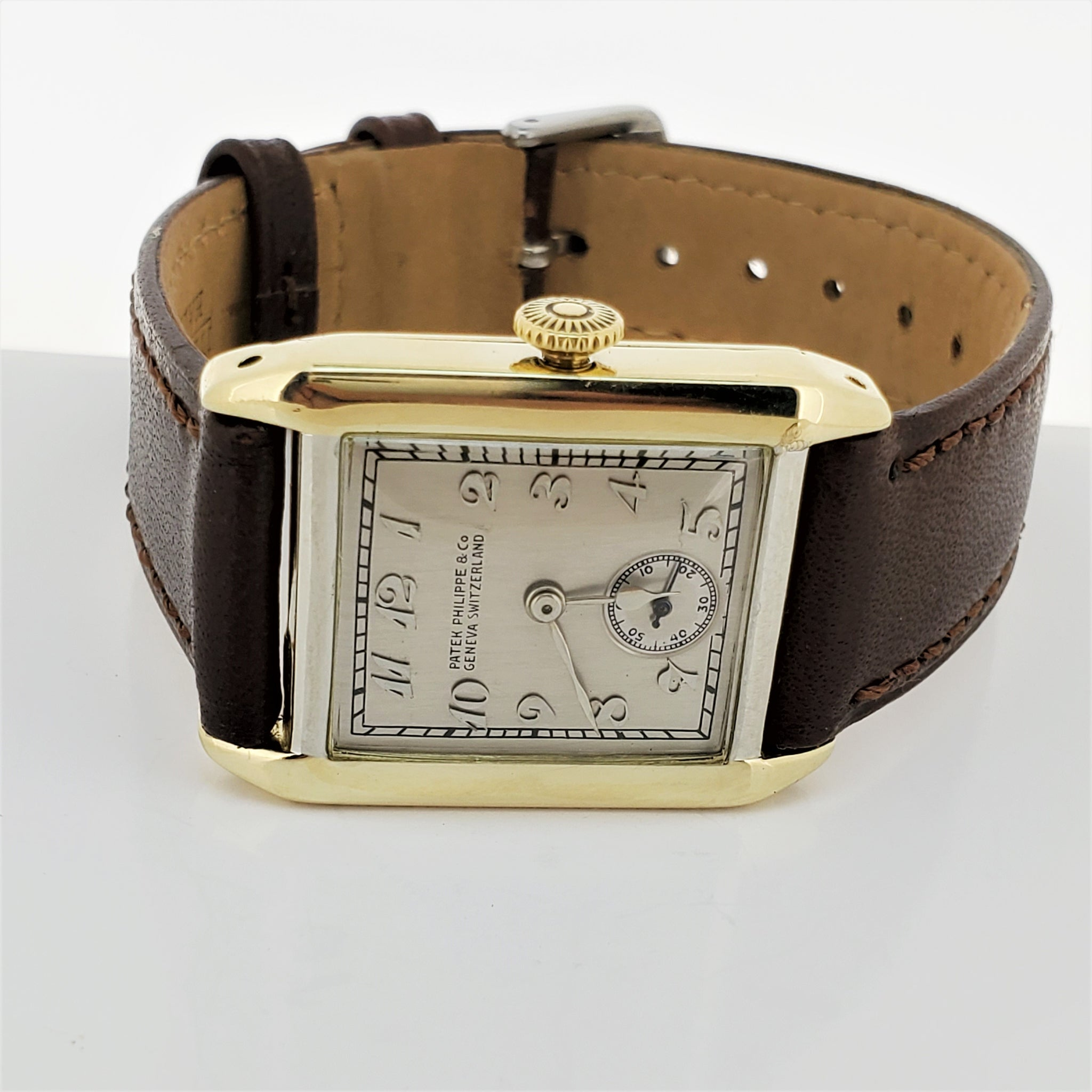 Patek Philippe 45JG Tank Style White Gold Art Deco Watch Circa 1926