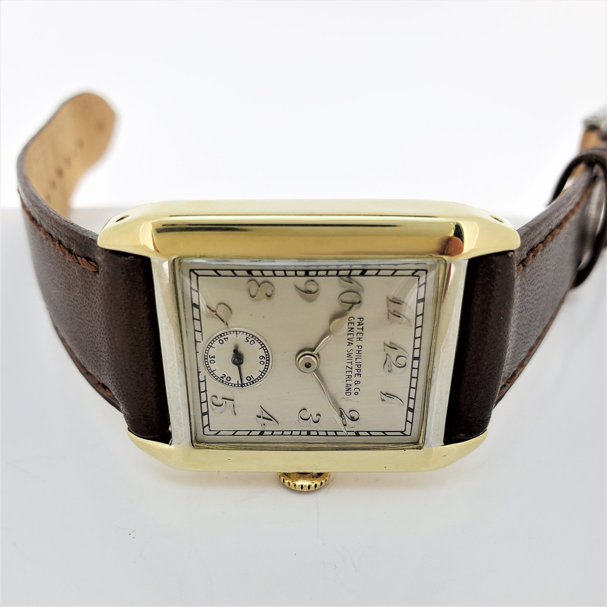 Patek Philippe 45JG Tank Style Yellow and White Gold Art Deco Watch Circa 1926