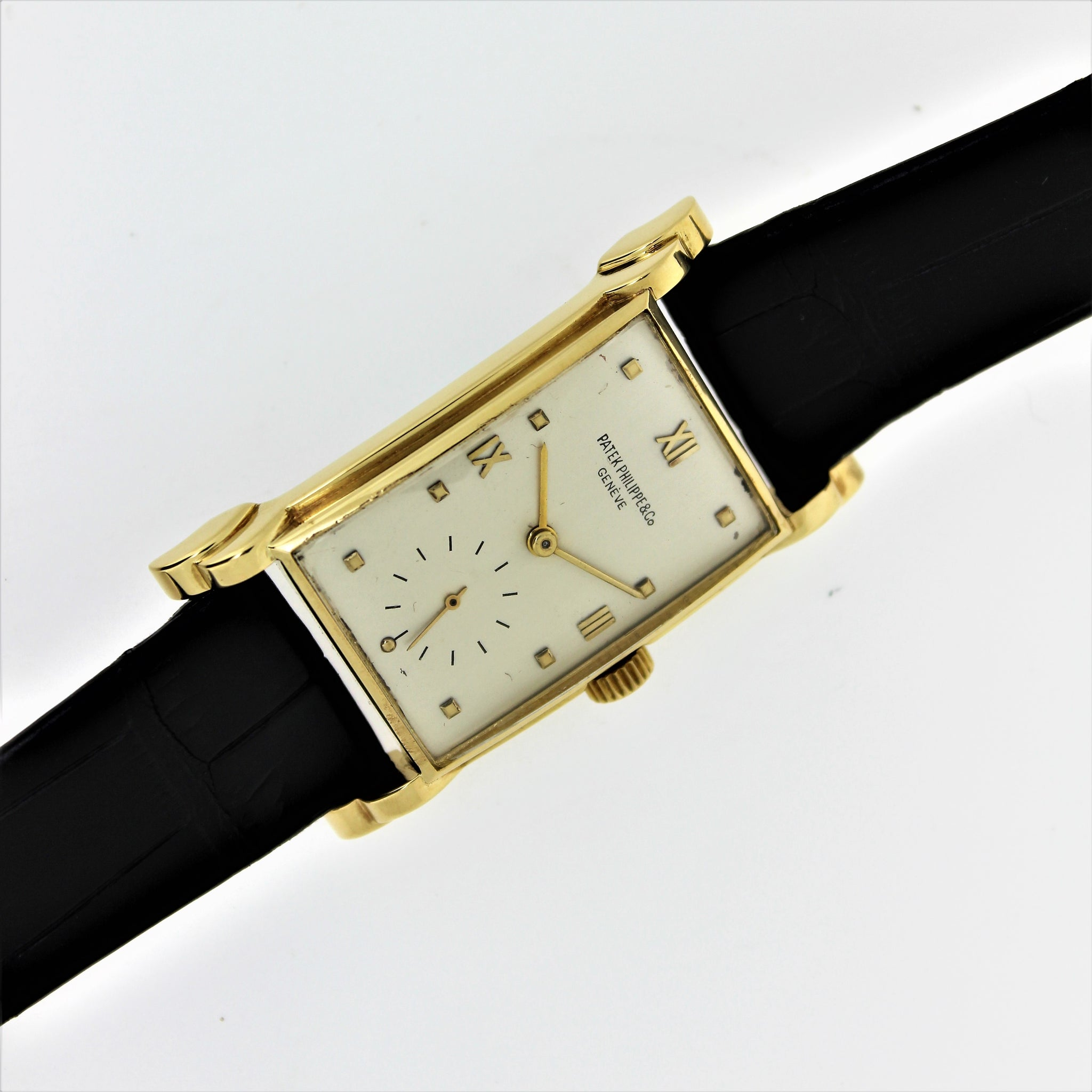 Patek Philippe 2415J, Oversized Rectangular watch with stepped fancy lugs, circa 1948