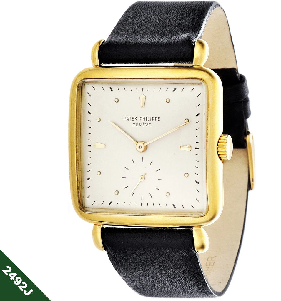 Patek Philippe 2492J square cushion tear drop lug watch.  Circa 1951