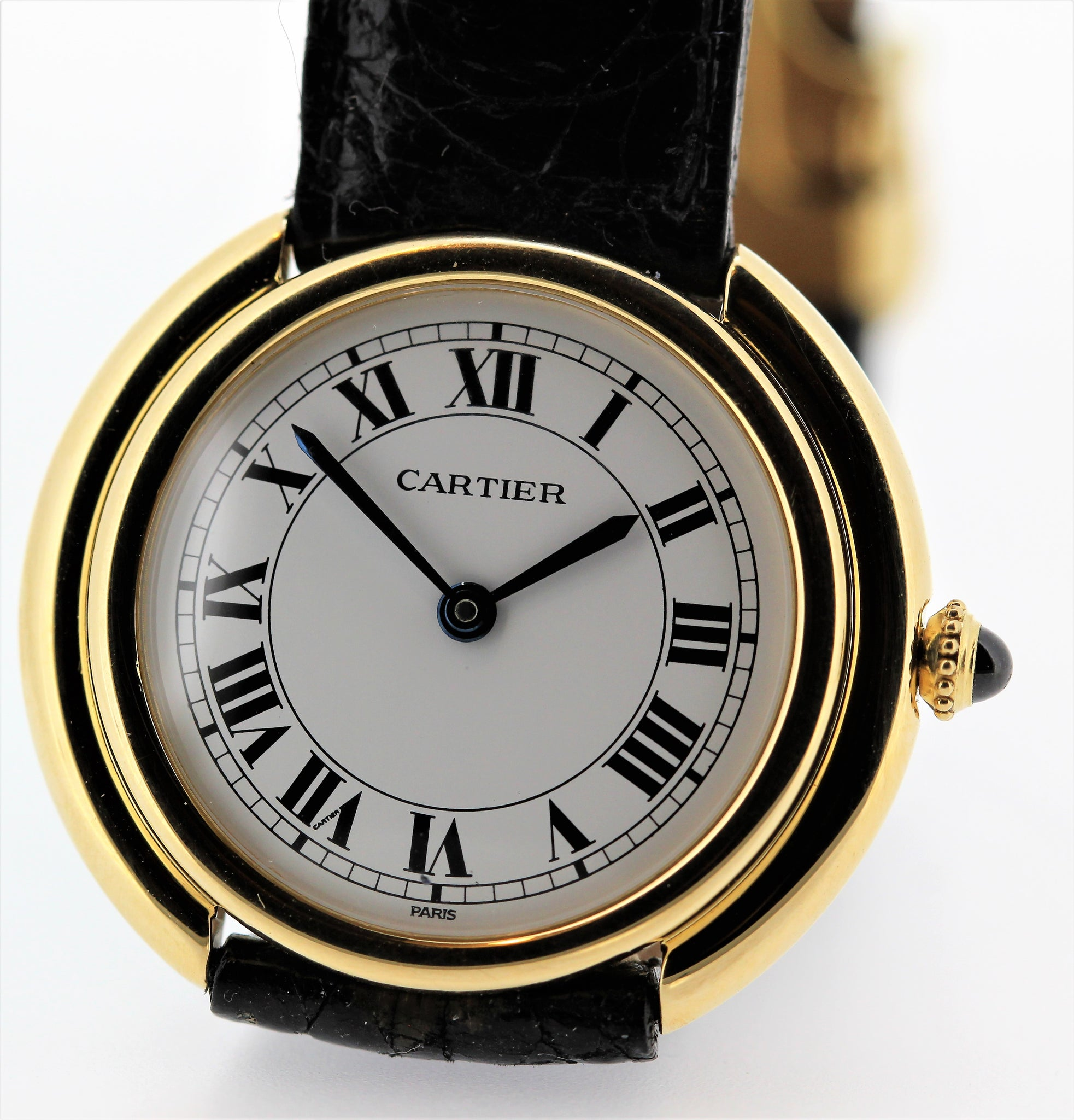 Ladies Vintage Small Cartier Paris Vendome wristwatch, Circa 1975-1980 18 Karat Gold