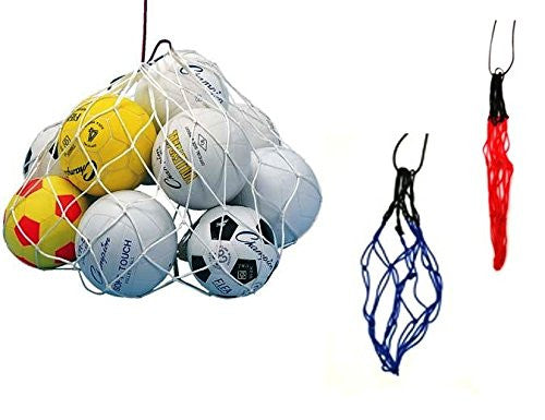 Coaches Large Net style Balls Bag Fit 8 to 10 Balls 24 inch  X 40 inch  Blue / White