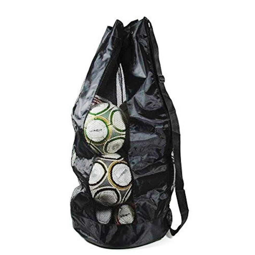 1 Stop Soccer Extra Large Heavy Duty Mesh Bag. Best for Soccer Ball, Water Sports, Beach Cloth, Swimming Gears. Adjustable Shoulder Strap Made to Fit Adults and Kids Pocket for Personal Items