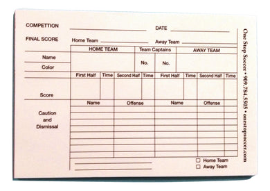 1 Stop Soccer Referee Score Pads (100 Sheets)