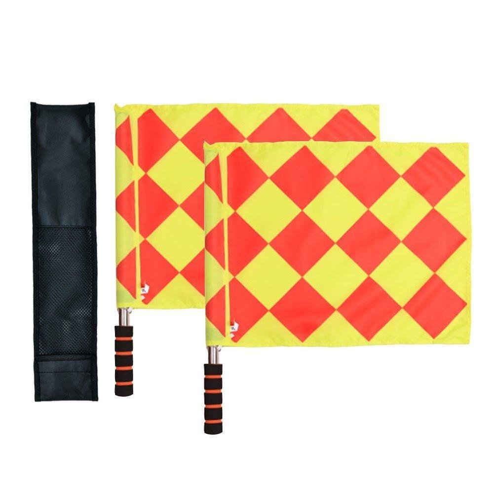 Soccer Football Rugby Linesman 2pcs Referee Flags Metal Pole Foam Handle with Carring Tote pack of 2