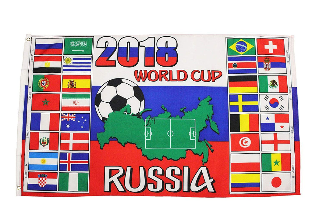 RUSSIA , FIFA World Cup 2018 - Countries Flags 3 x 5 Feet Flag Banner .. Great Quality .. New
