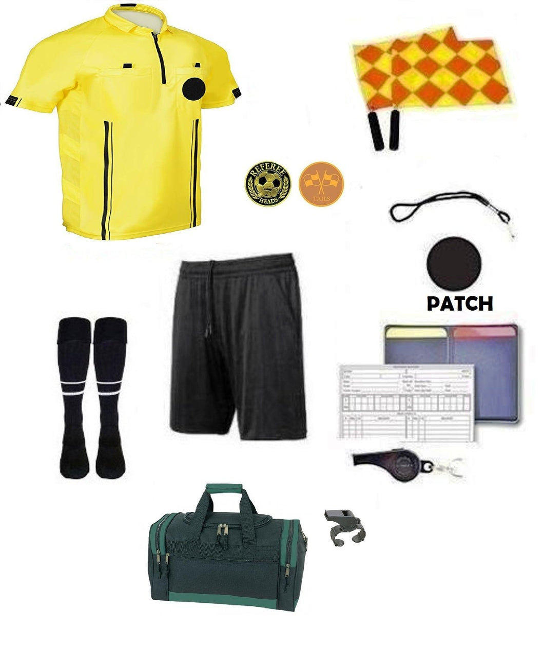 12 Piece Soccer Package Referee Jersey Short Flag Whistles Duffel Bag Coin