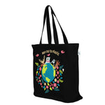 Black Large 'Happy Planet' Tote Bag