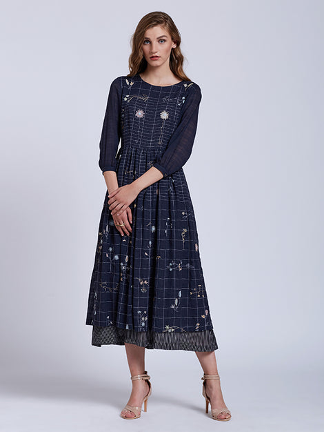 Flower Grid Embroidered Dress