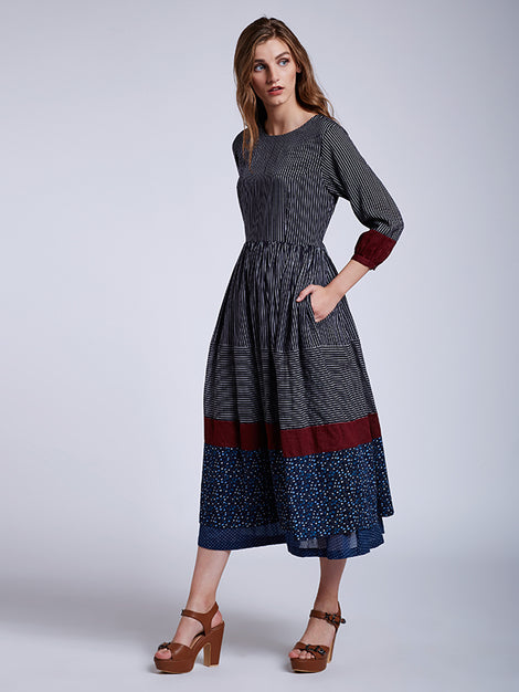 Panelled Gathered Dress