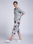 Back Knotted Embroidered Top With Patchwork Top With Pants