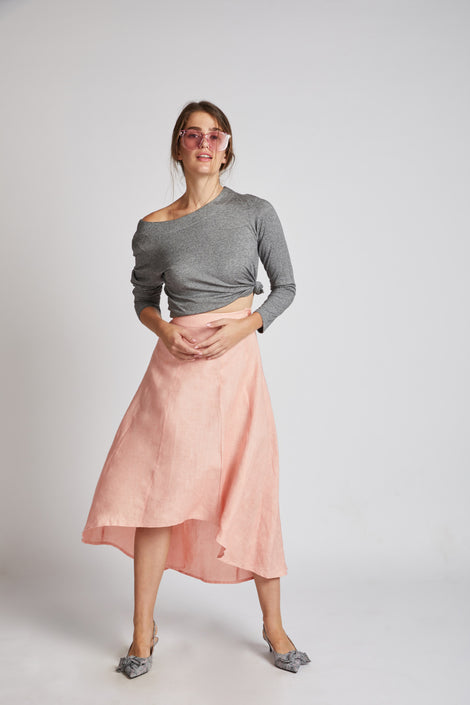 Sail High Low Skirt Light Peach