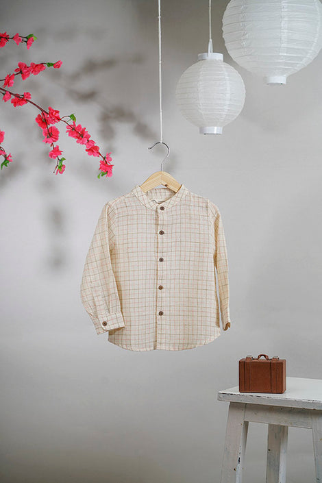 I Dream of Kyoto' shirt in handwoven checks