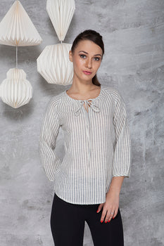 AMELIA BLOUSE IN KORA/ INDIGO STRIPE MALKHA COTTON