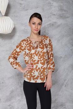 AMELIA BLOUSE IN HAND BLOCK PRINTED AHIMSA SILK