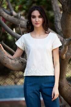 ERIN TOP IN HAND EMBROIDERED MALKHA COTTON