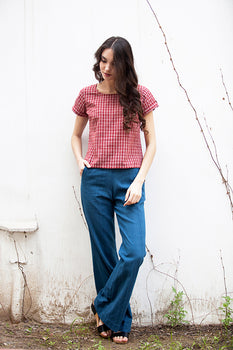 ERIN TOP IN RED CHECK  MALKHA COTTON