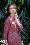 EMMA DRESS IN RED CHECKS MALKHA COTTON