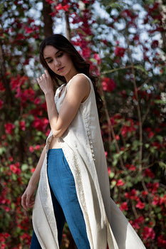 CARISSA CAPE IN HAND EMBROIDERED MALKHA COTTON KORA