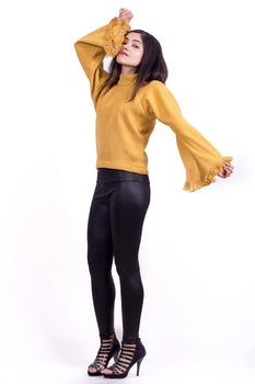 Organic Cotton Knit Top in Mustard