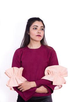Organic Cotton Two-Toned Ruffle Top