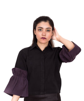 Organic Cotton Black Shirt With Ruffle Sleeves