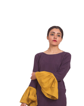 Organic Cotton Pleated Purple-Mustard Top
