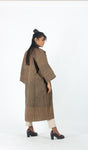 Brown striped long jacket Dress