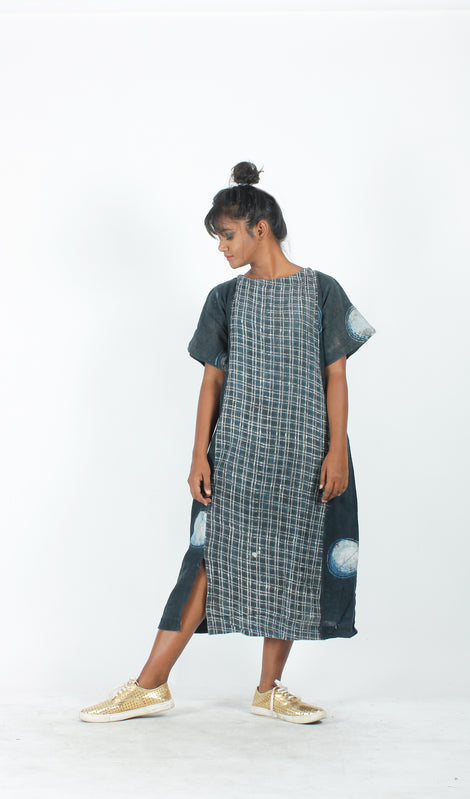 Indigo Paneled Checkered Dress